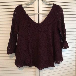 American Eagle Purple Lace Blouse